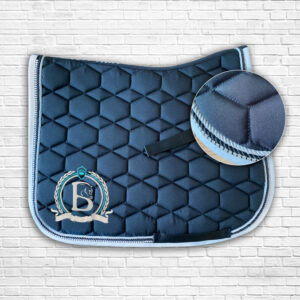 Black & Teal Diamante Saddle Cloth