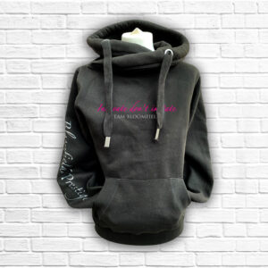 Ladies Black, Hot Pink & Silver Team Cross Neck Hoodie - Front