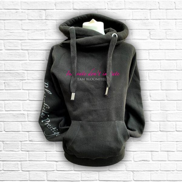 Ladies Black, Hot Pink & Silver Team Cross Neck Hoodie - Front