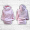 Ladies Blush, Cream & Silver Team Cross Necked Hoodie