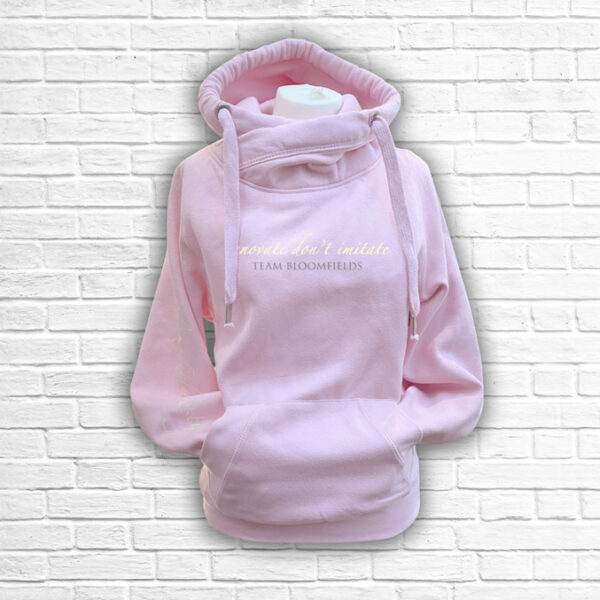 Ladies Blush, Cream & Silver Team Cross Necked Hoodie - Front