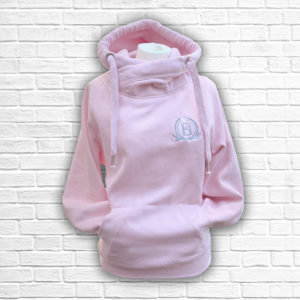 Ladies Blush & Silver Crossed Neck Hoodie - Front