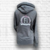 Ladies Dark Grey & Blush Cross Neck Hoodie - Back