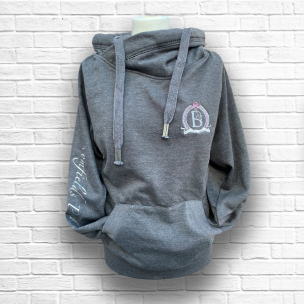 Ladies Dark Grey & Blush Cross Neck Hoodie - Front