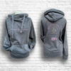 Ladies Dark Grey, Blush & Silver Team Crossed Neck Hoodie