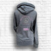 Ladies Dark Grey, Blush & Silver Team Crossed Neck Hoodie - Back