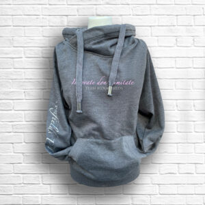 Ladies Dark Grey, Blush & Silver Team Crossed Neck Hoodie - Front