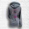 Ladies Dark Grey, Hot Pink & Black Team Cross Necked Hoodie - Back