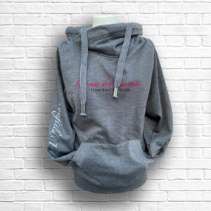 Ladies Dark Grey, Hot Pink & Black Team Cross Necked Hoodie - Front