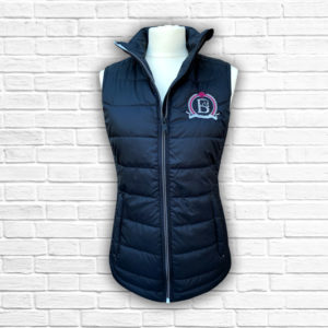 Ladies Fitted Black & Hot Pink Gilet - Front