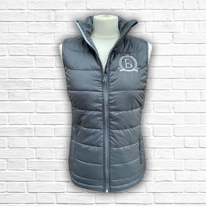 Ladies Fitted Grey And Silver Gilet - Front