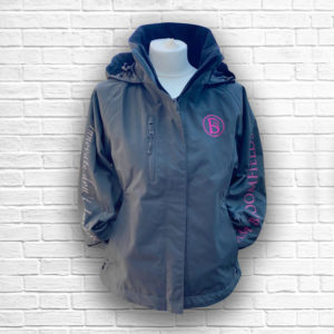 Ladies Fitted Jacket With Fold Away Hood (Grey) - Front