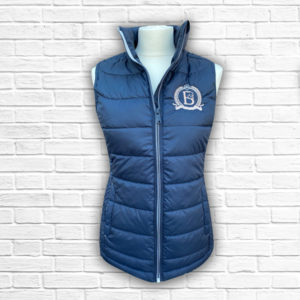 Ladies Fitted Navy And Rose Gold Gilet - Front