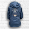Ladies Fitted Navy & Rose Gold Jacket Fold Away Hood - Back
