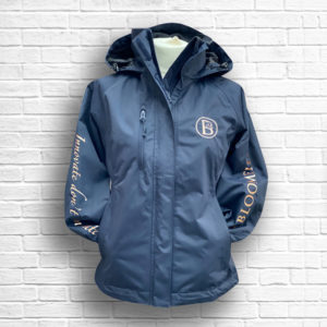 Ladies Fitted Navy & Rose Gold Jacket Fold Away Hood - Front