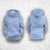 Ladies Heather Grey & Emerald Crossed Neck Hoodie