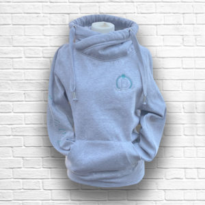 Ladies Heather Grey & Emerald Crossed Neck Hoodie - Front