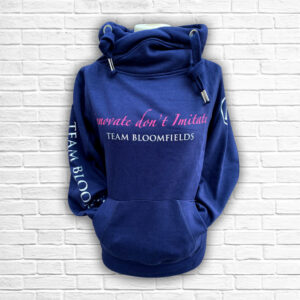 Ladies Navy Hot Pink & Silver Team Cross Necked Hoodie - Front