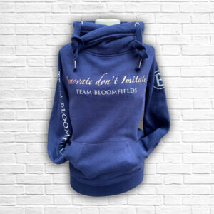 Ladies Navy Rose Gold & Silver Team Cross Necked Hoodie - Front