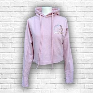 Ladies Pink Cropped Hoodie - Front