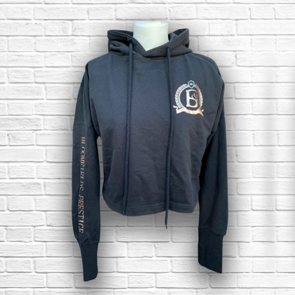 Ladies Prestige Cropped Hoodie (Black) - Front