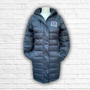 Ladies Quilted Black, Silver & Hot Pink Coat - Front