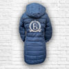 Ladies Quilted Navy, Silver & Rose Gold Coat - Back