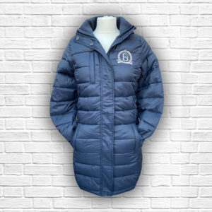 Ladies Quilted Navy, Silver & Rose Gold Coat - Front