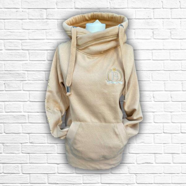 Ladies Sand & Gold Crossed Neck Hoodie - Front