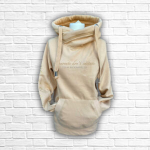Ladies Sand, Gold & Silver Team Crossed Neck Hoodie - Front