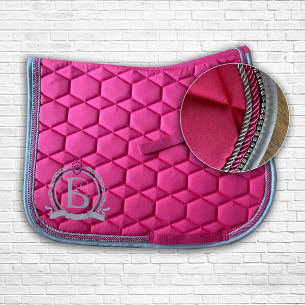 Pink & Navy Diamante Prestige Saddle Cloth