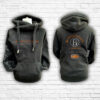Unisex Black, Orange & Silver Team Cross Neck Hoodie