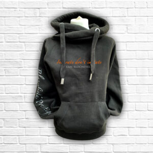 Unisex Black, Orange & Silver Team Cross Neck Hoodie - Front