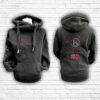 Unisex Black, Red & Silver Team Cross Necked Hoodie