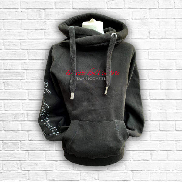 Unisex Black, Red & Silver Team Cross Necked Hoodie - Front