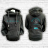Unisex Black, Teal & Silver Team Cross Neck Hoodie