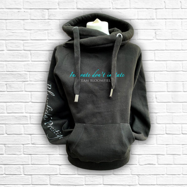 Unisex Black, Teal & Silver Team Cross Neck Hoodie - Front