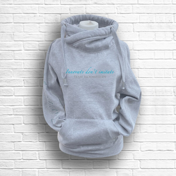 Unisex Heather Grey, Teal & Silver Team Crossed Neck Hoodie - Front