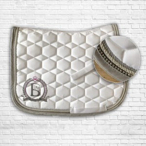 White & Dark Pink Diamante Saddle Cloth
