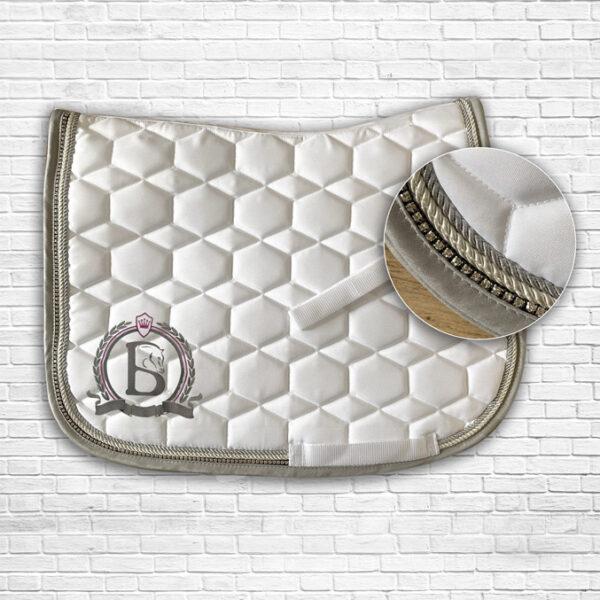 White & Dark Pink Diamante Saddle Cloth